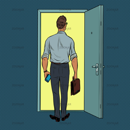 A male businessman on the threshold of a new solution
