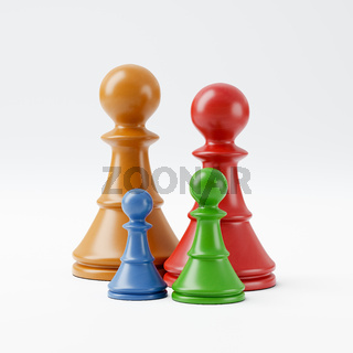 Colorful Wooden Chessmen, Family Concept