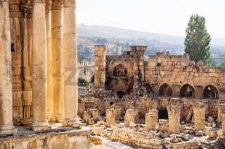 Roman ruins with Anti-Lebanon mountain range in the background, Baalbek, Lebanon