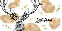 Classy Golden Christmas Card with hand-drawn majestic deer with big antlers.