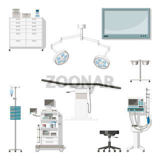 Set with medical furniture and equipment of a operating room