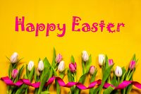 Colorful Tulip, Spring Flowers, Text Happy Easter, Ribbon, Yellow Background