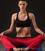 Yoga. Photo of girl practicing breathing exercises