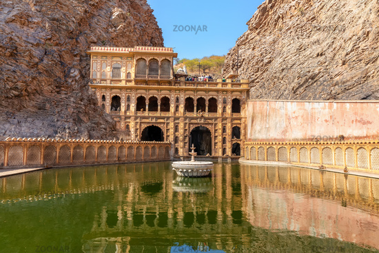 Holy temple of India known as Monkey Temple in Jaipur