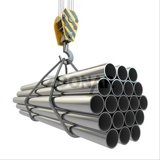 Crane hook and pipes. 3d