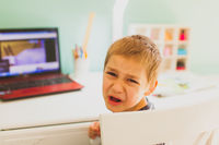 The kid frustrated with challenging online training
