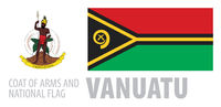 Vector set of the coat of arms and national flag of Vanuatu