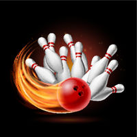Red Bowling Ball in Flames crashing into the pins on a Dark Background. Illustration of bowling strike.