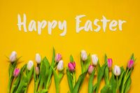 Colorful Tulip, Spring Flowers, Text Happy Easter, Yellow Background