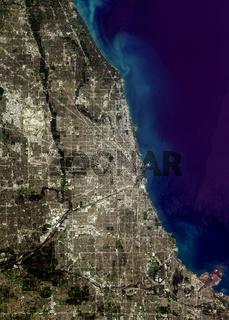 satellite image of Chicago, USA