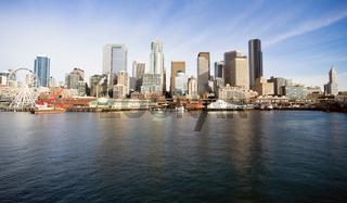 Waterfront Piers Dock Buildings Ferris Wheel Boats Seattle Elliott Bay