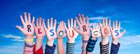 Children Hands Building Word Resources, Blue Sky