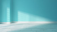 Light blue wall and sunlight from window on the wall realistic 3D rendering