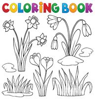 Coloring book early spring flowers set 1