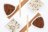 Top View Of White Sushi Plate With Rise And Chopsticks.