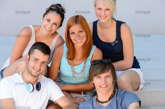 College student friends group smiling portrait