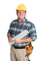 Male Contractor With House Plans Wearing Hard Hat Isolated on White