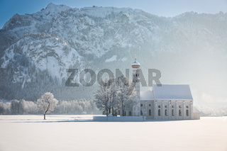 St. Coloman with trees in wintery landscape, Alps, Germany