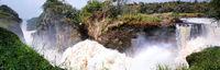 Murchsion Falls im Murchison Falls Nationalpark Uganda, Panorama aus 5 Bildern | The Murchison Falls at Murchison Falls National Park Uganda, panoramic from 5 pictures