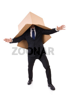 Man in thinking outside of the box concept