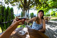 toasting wine with woman point of view