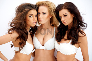 Three beautiful sexy curvaceous young women