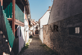 Narrow cobbled street in an old German town
