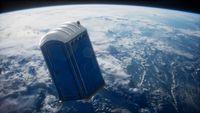 Portable street WC toilet cabin on Earth orbit