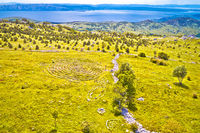 Celestial Labyrinths stone mazes high in mountains above Novi Vinodolski aerial view,
