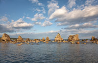 Hashigui-iwa (Bridge Pillar Rocks) at the Kushimoto. Wakayama prefecture. Honshu. Japan