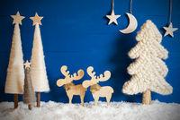 Christmas Tree, Snow, Moose, Moon, Copy Space