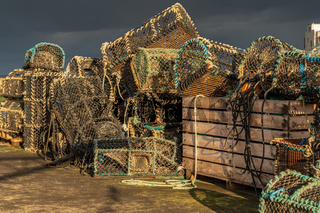 Fish traps, seen in Seahouses, England, UK
