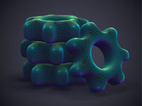 3D cogwheels made of blue dots on gray background.