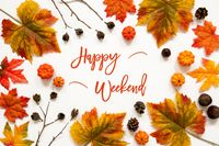 Bright Colorful Autumn Leaf Decoration, English Text Happy Weekend