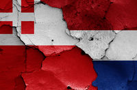 flags of Utrecht and Netherlands painted on cracked wall