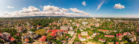 Truskavets, Ukraine - July 29, 2019: Birds eye view of Truskavets city, Ukraine. Popular healing spa resort with mineral springs. Aerial drone 180 degrees panoramic landscape