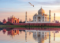 Famous Taj Mahal Mausoleum on the bank of the Yumana river in Agra, India