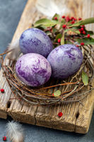 Colorful Easter eggs close-up.