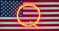 Q Anon deep state conspiracy concept formed from flames against US flag