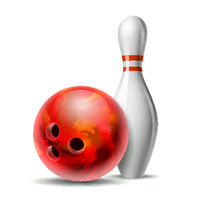 Red glossy bowling ball and white bowling pin with red stripes.