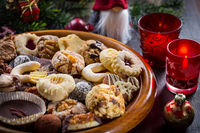 Assortment of Christmas cookies with ornaments