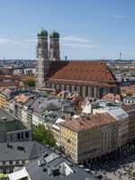 Cathedral Liebfrauenkirche viewed vom Tower of St. Peter Church - Munich