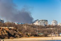 View from the sea to the big fire in Odessa, Ukraine