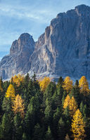 Autumn alpine Dolomites rocky  mountain scene, Sudtirol, Italy. Peaceful view near Gardena and Sella Pass.