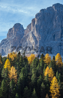 Autumn alpine Dolomites rocky  mountain scene, Sudtirol, Italy. Peaceful view near Gardena and Sella Pass.