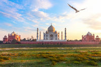 Taj Mahal, view from the Yamuna river, Agra, India