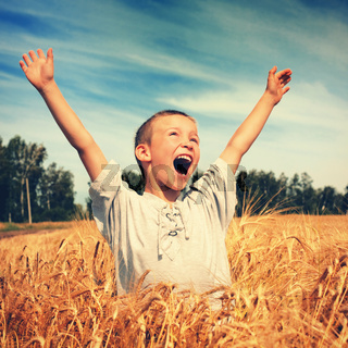 Happy Kid in the Field