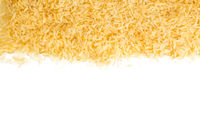 Brown - Coarse rice on white background.