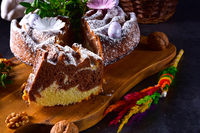 Polish Easter cake with nuts and chocolate