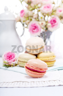 traditional delicious sweet  macarons  coffee